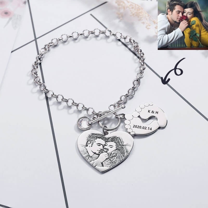 Custom Photo Engraved Tag Name Bracelet With Birthstone and Feetprint