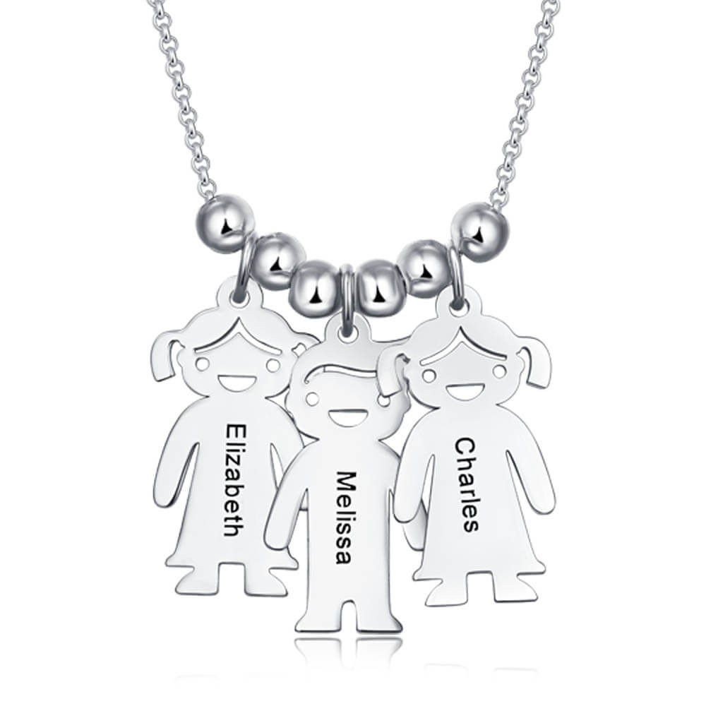 Silver Personalized Engraved Name Necklaces With 1-10 Children Kids Charms