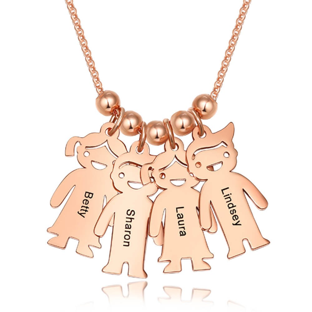 Personalized 1-10 Children Kids Charms Engraved Name Necklace