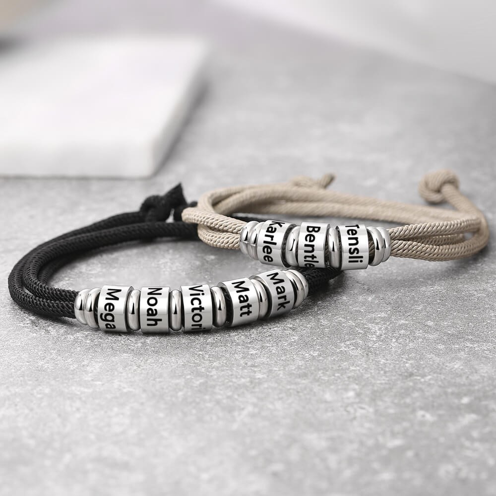 Mens Personalized Engraved Name Beads Bracelet With 1-10 Beads
