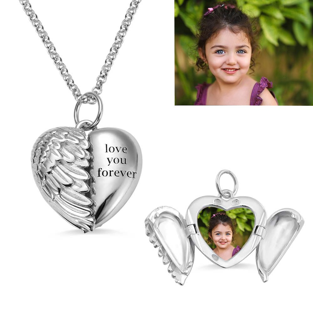 Personalized Angel Wings Heart Engraving Photo Necklace