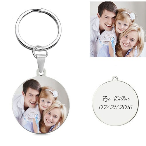 Customize Photo Keychain Titanium Steel Round-shaped
