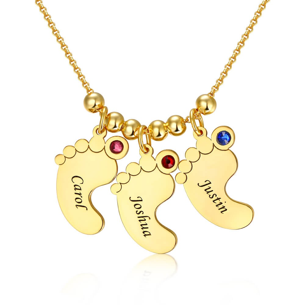 18K Gold Plating Personalized 1-6 Baby Feet Engravable Charms Name Necklace With Birthstone