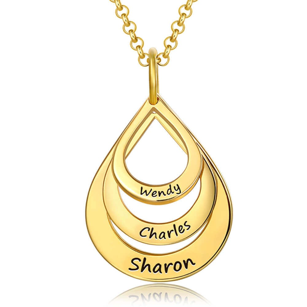 Custom Engraved Family Names Necklace Up To 5 Drops Shaped