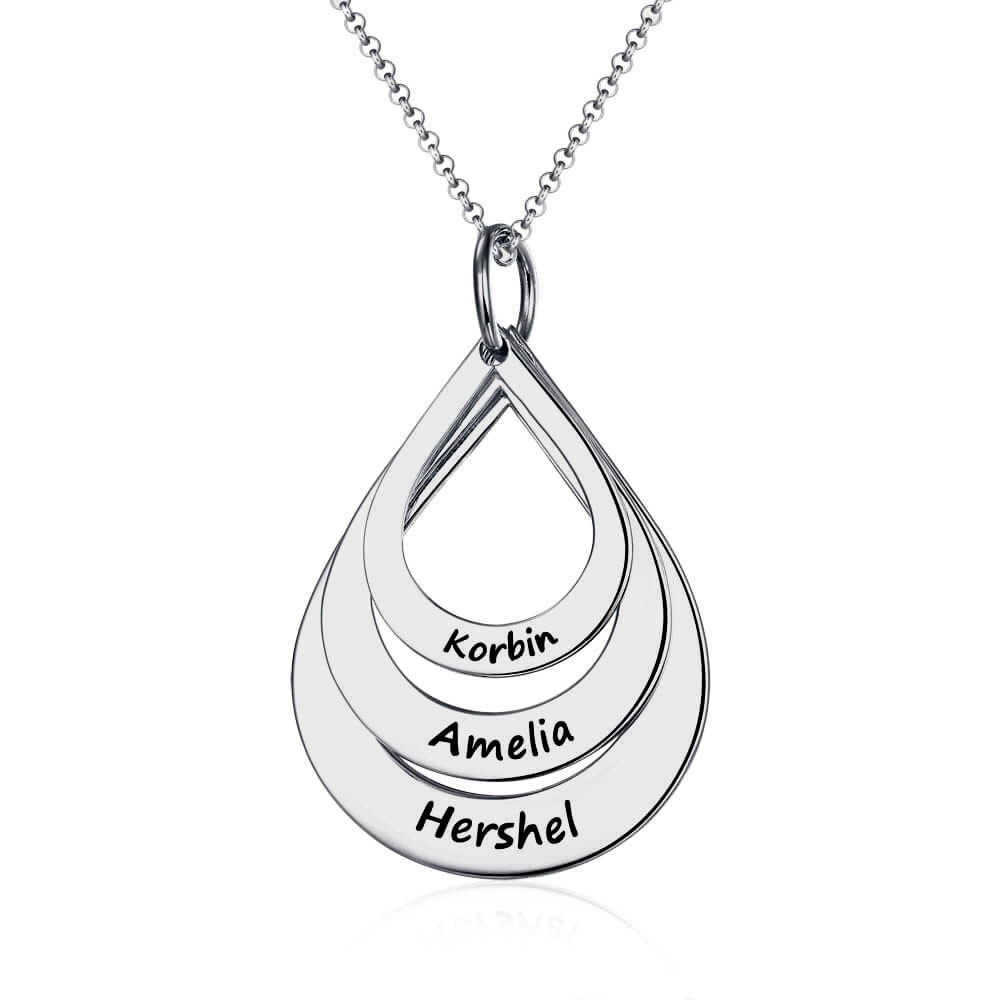 Silver Personalized Engraved Family Names Necklace Up To 5 Drops Shaped