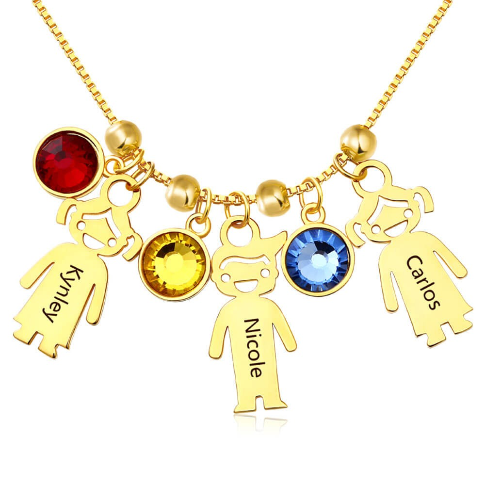Personalized Birthstones Family Baby Kids Boy Girl Names Engraved Necklaces With 1-12 Pendants