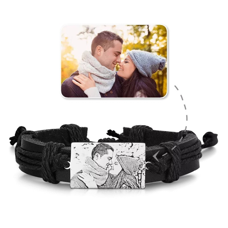 Men's Rectangle Photo Engraved Tag Black Leather Bracelets