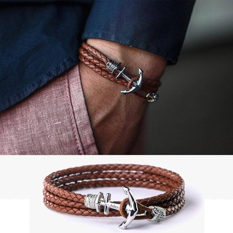 New Hot Style Men's Gifts Personalized Anchor Name Engraving Leather Bracelets