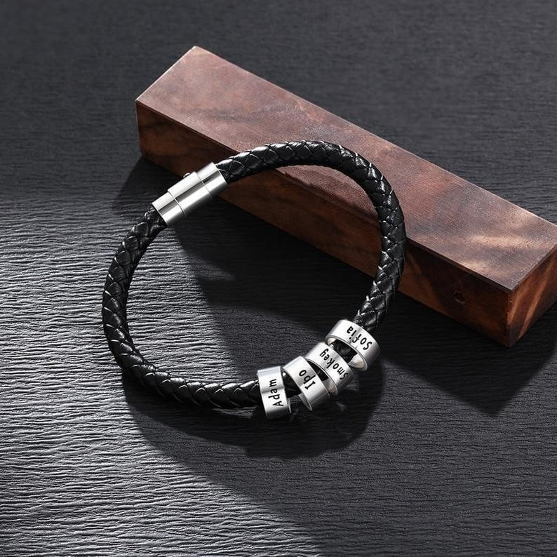 Personalized Black Engraving Leather Bracelet With 1-10 Beads