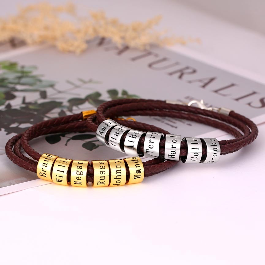 Personalized Beads Engraving Name Leather Bracelets With 1-10 Beads Gifts for Him