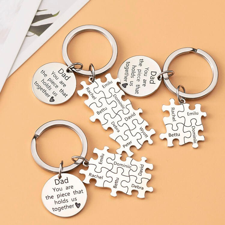 Father's Day Gift Personalized Dad Puzzle Keychain Engraving 1-20 Names