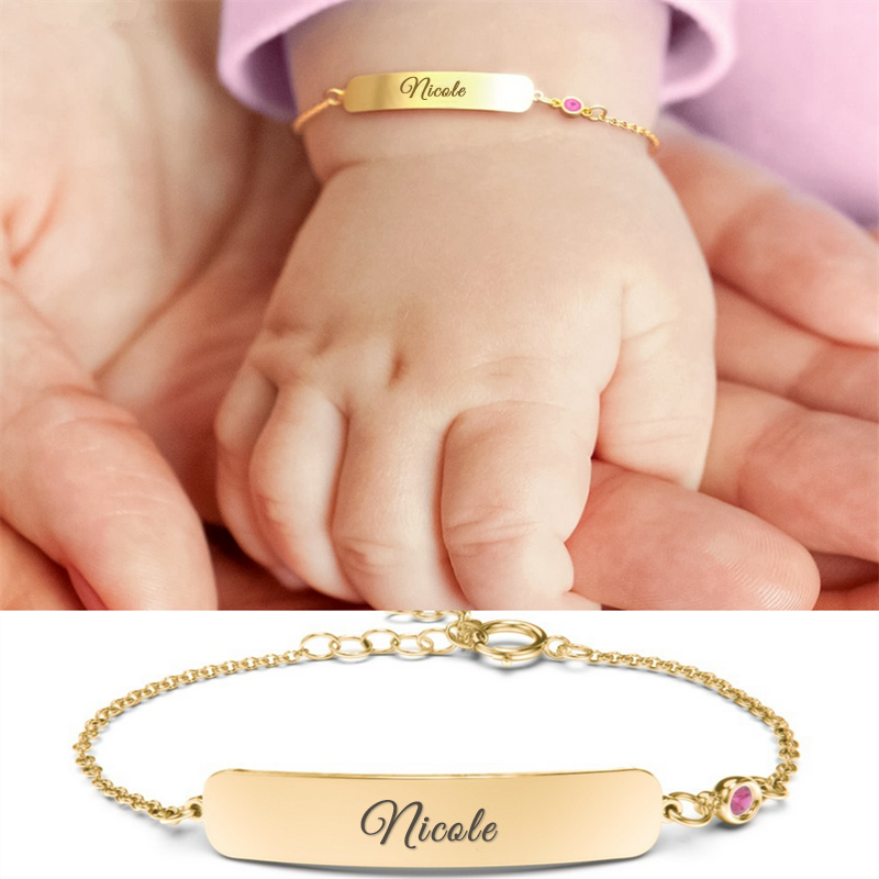 Personalized Engravable Baby Name Bracelet with Birthstone