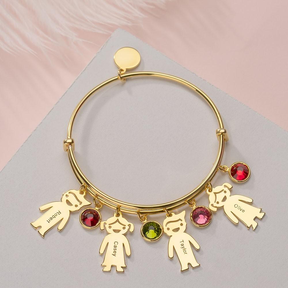 Custom Charms Bangle Kids Birthstones Engraved Name Bracelets with 1-12 Pendants