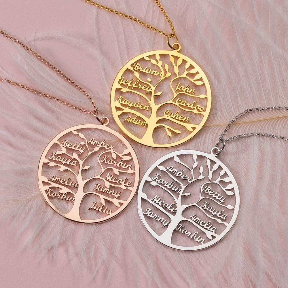 Personalized Family Tree Name Engraved Necklaces With 1-9 Names Gifts