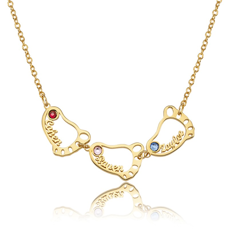 18K Gold Plating Personalized 1-8 Hollow Baby Feet Engravable Family Name Necklace With Birthstone