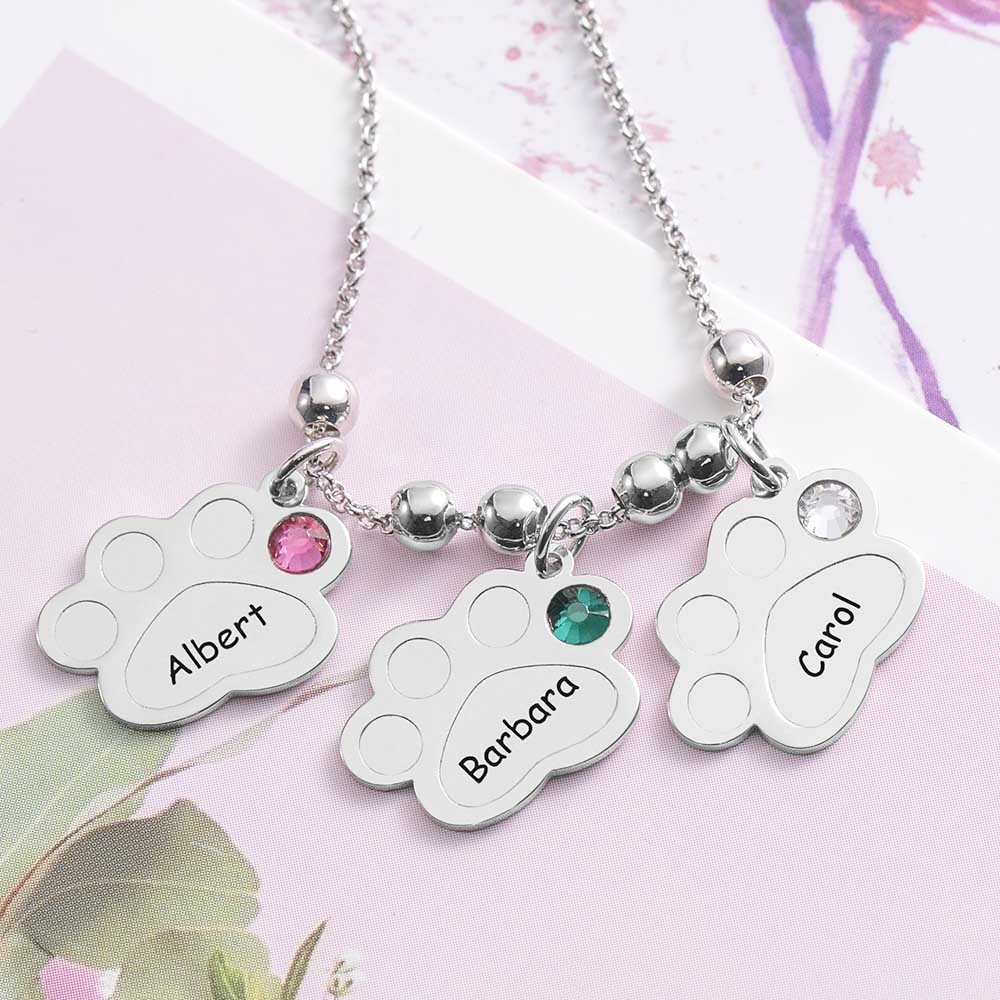 Multiple Paw Print Birthstone Name Necklace with 1-5 Charms