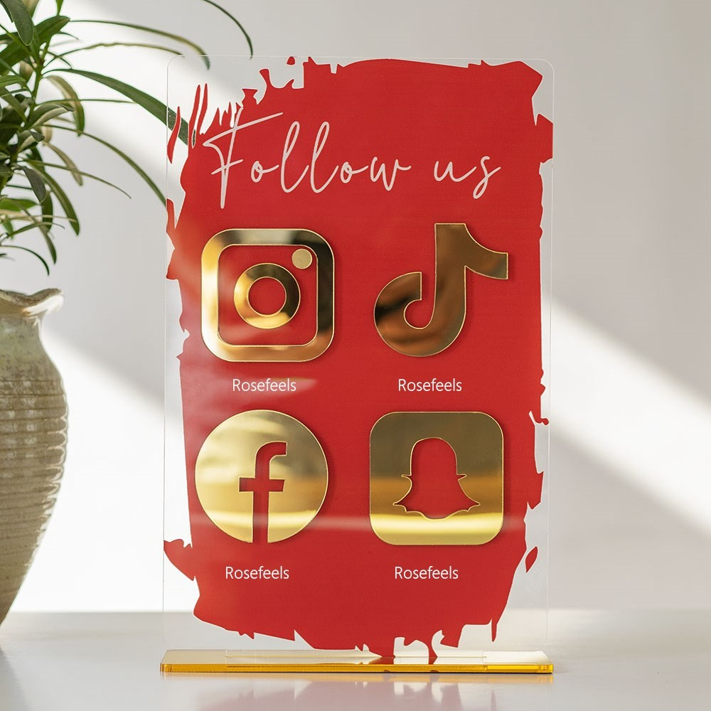 Personalized 4 Icon Business Social Media Sign