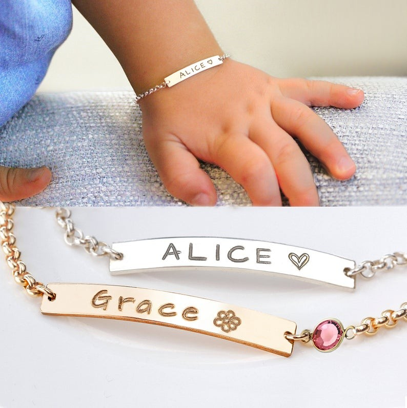 Personalized Birthstone Baby Name Engraving Bracelets