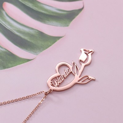 Personalized Flower Heart Name Necklace Gifts