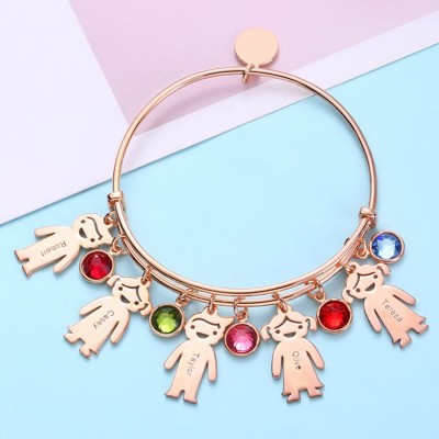 18K Rose Gold Plating Personalized Birthstone Bangle Bracelet With 1-12 Name Engraved on Kid Charm