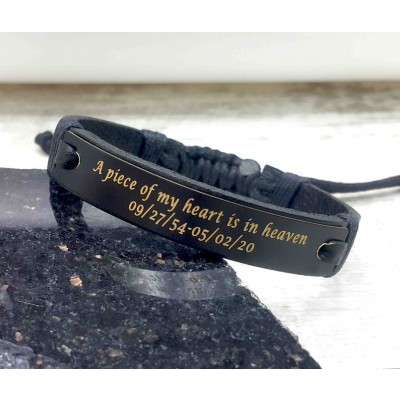 Personalized A Piece Of My Heart is in Heaven Memorial Leather Bracelets Gifts