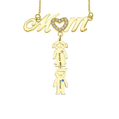 Personalized Mom Necklace with 1-10 childrens' Names and Birthstones For Mother's Day Gifts