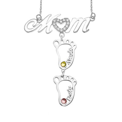 Silver Personalized 1-10 Hollow BabyFeet Name Mom Necklace With Birthstones