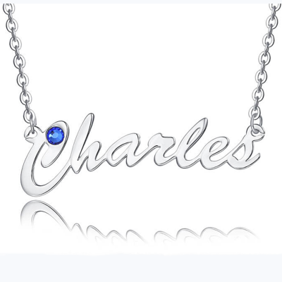 """Silver Personalized Name Necklace Customized """" Carrie"""" Style Name Engraving Necklace With Birthstone"""