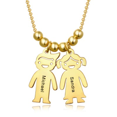 Personalized Engraved Name Necklaces With 1-10 Children Kids Charms