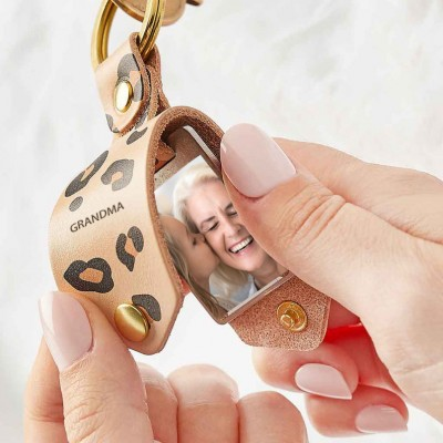 Personalized Leather Photo Keychain Key Ring Gifts For Mother's Day