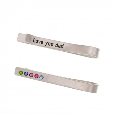 Personalized Men Name Engraved Tie Clips With Birthstone For Him Father's Day Gift