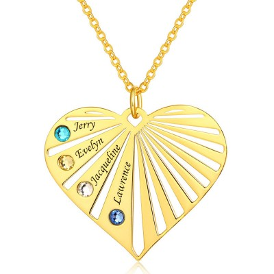 Personalized 1-8 Engraving Family Name Heart Necklace With Birthstone