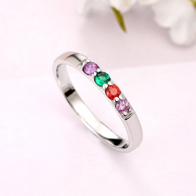 S925 Sterling Silver Birthstone Ring | Mothers Ring  | Personalized Birthstone Ring | Couples Ring