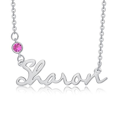 """Silver Personalized """" Carrie """" Style Name Necklace With Birthstone"""