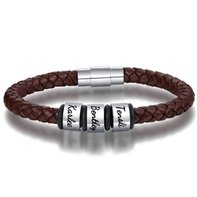Personalized 1-10 Beads Engraving Name Brown Leather Bracelet Gifts for Him