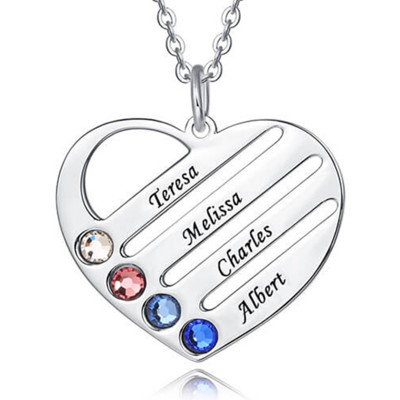 Personalized Heart Engraved Name Necklaces With 1-4 Birthstones