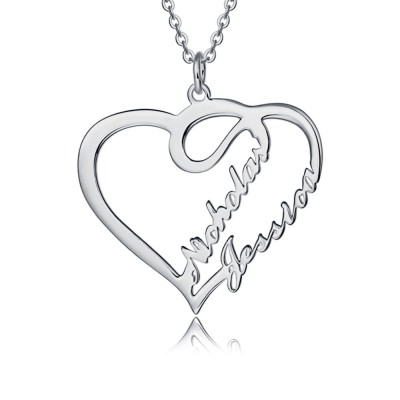 Silver Personalised Heart Couple Name Necklace