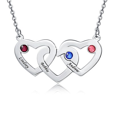 Personalized Engraved 1-5 Intertwined Hearts Name Necklace With Birthstones
