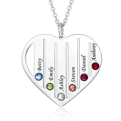 Silver Personalized Family Engraved 1-7 Birthstones and Name Necklace