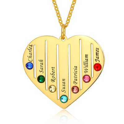 Personalized Family Engraved 1-7 Birthstones and Name Necklace