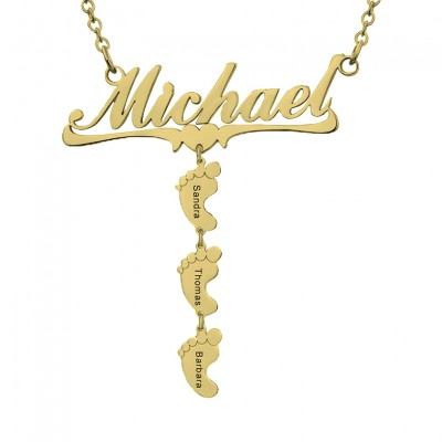 Personalized Mom Name Necklace With 1-10 Baby Feet Charms