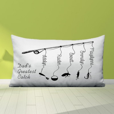 Personalized Family Names Pillow Case Dad's Greatest Catch Father's Day Gift