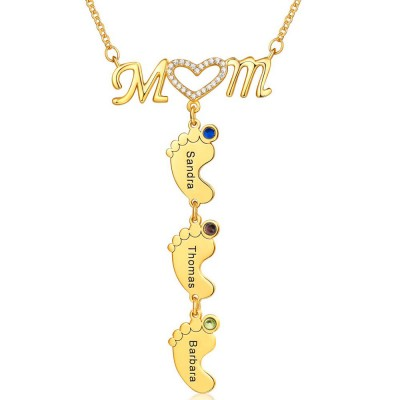 Personalized Mom BabyFeet Name Birthstones Necklace With 1-10 Charms Pendants