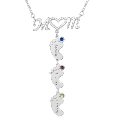 Silver Personalized Mom BabyFeet Name Birthstones Necklace With 1-10 Charms Pendants