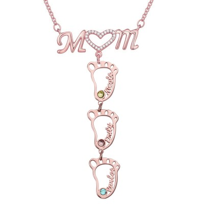 Personalized 1-10 Hollow BabyFeet Name Mom Necklace With Birthstones
