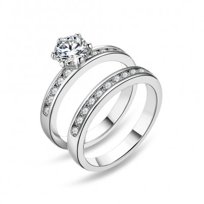 S925 Silver Engagement Wedding Ring Set Of 2