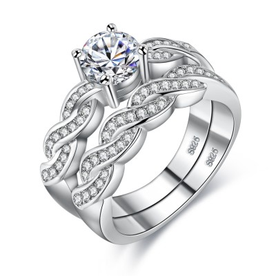 S925 Silver Lucky Love Engagement Wedding Ring