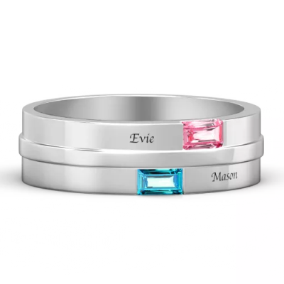 Men's Personalized Birthstone Promise Ring With Engraving