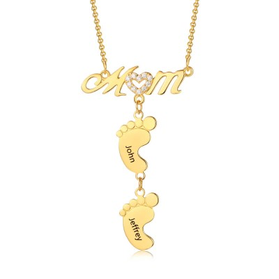 Personalized MoM Heart Engraved Name Necklaces With 1-10 Baby Feet Charms