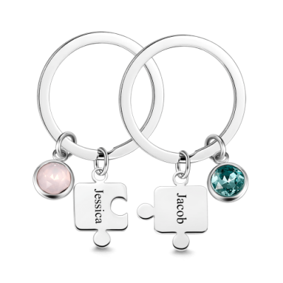 Puzzle Engraved Birthstone Key Chain